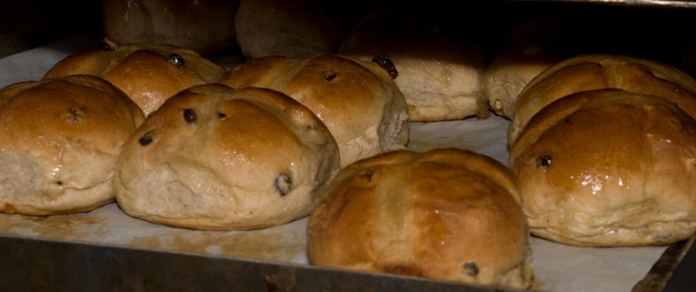 Hot cross buns fresh from the Redbournbury Mill bakery