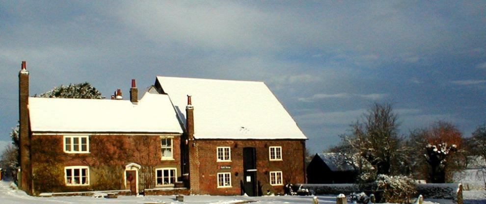 Redbournbury millhouse and mill in winter