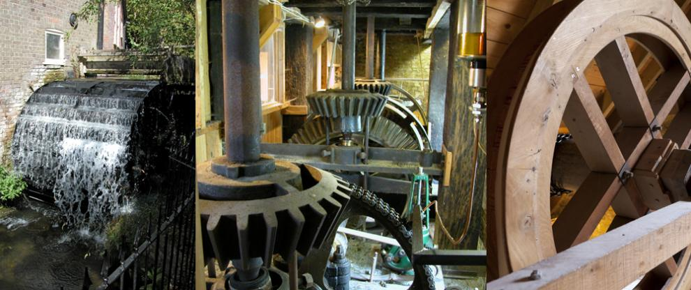 Waterwheel, horizontal layshaft and sack hoist at Redbournbury Mill