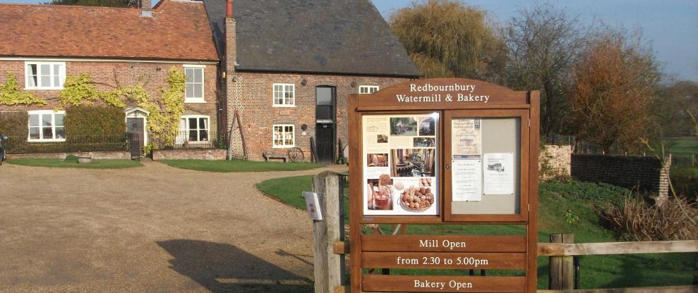 Redbournbury Mill and information board viewed from Redbournbury Lane