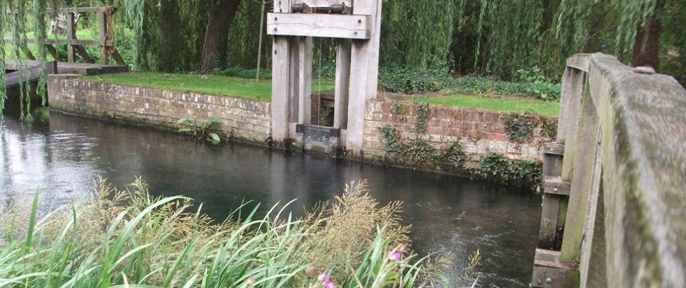 The leat and original bypass sluice at Redbournbury Mill