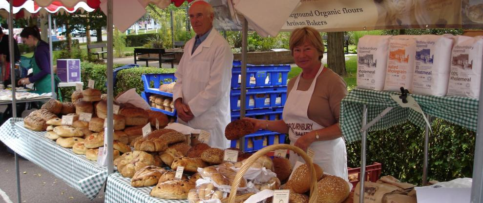 Selling bread at Harpenden Farmers Market