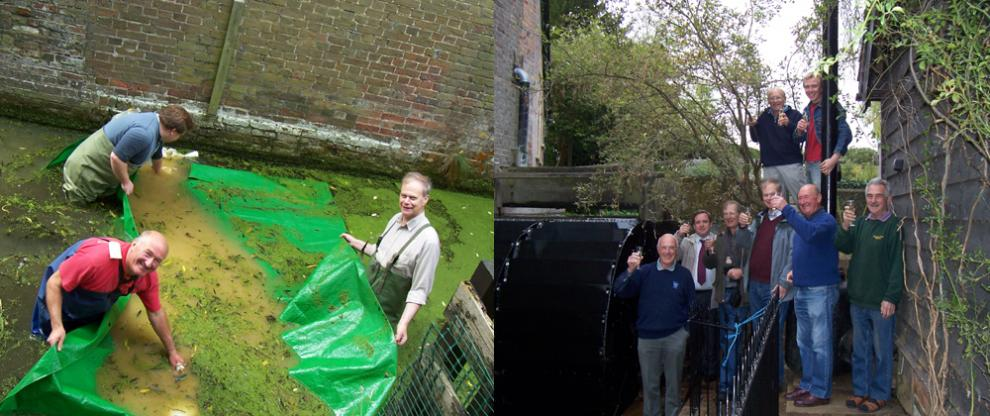 Volunteers at Redbournbury Mill building a dam and celebrating the completion of the waterwheel restoration