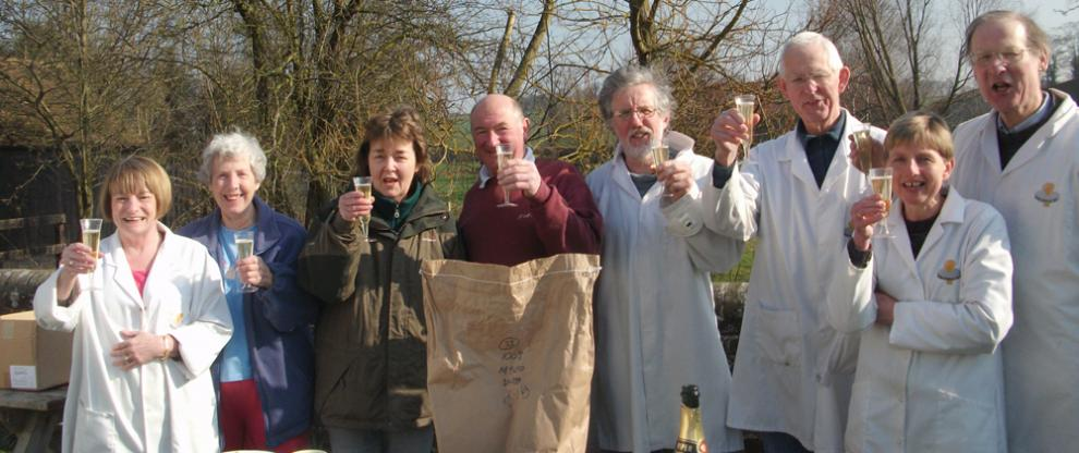 Volunteers at Redbournbury Mill celebrating the 500th batch of flour