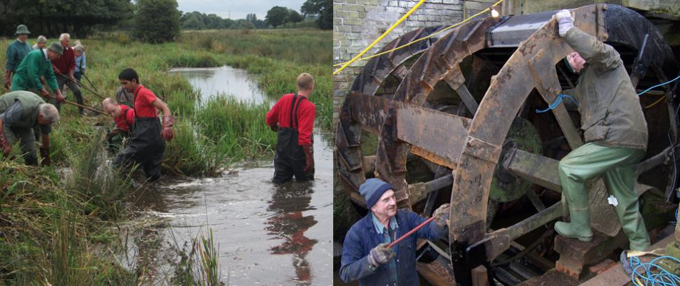 Volunteers at Redbournbury Mill clearing the river and restoring the waterwheel
